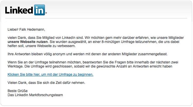 Hier vergibt LinkedIn eine Chance bei der Kommunikation mit den Kunden.