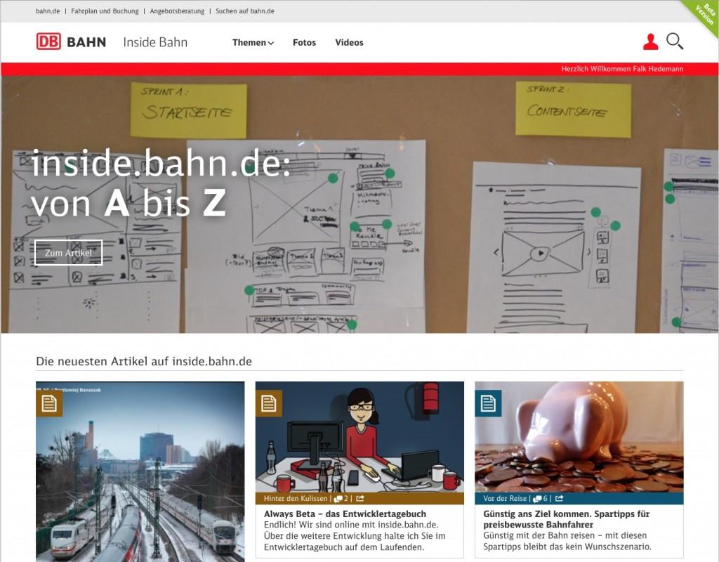 Der Social Content Hub inside.bahn der DB Bahn.